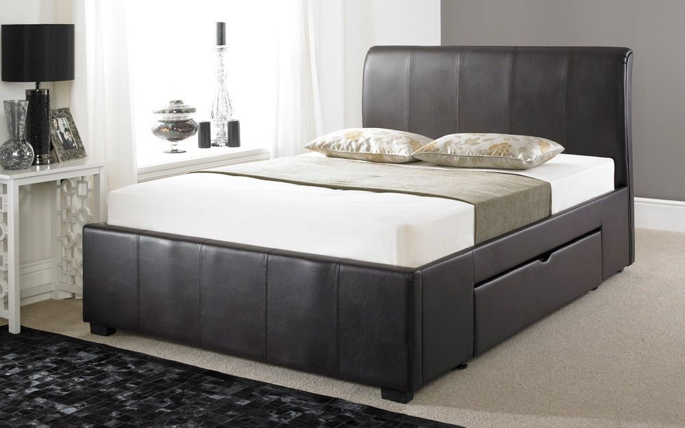 Brown Leather Bed with Drawers 1000 x 625