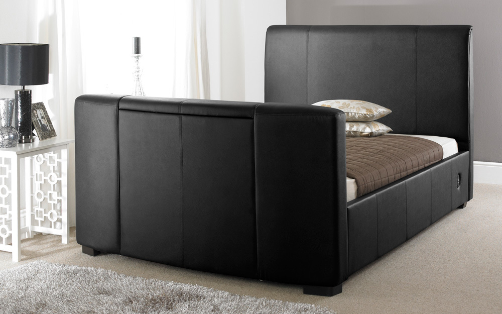 Faux Leather TV Bed, King Size, Faux Leather - Black