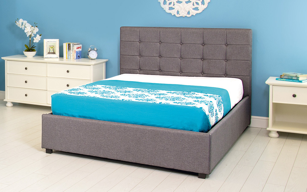 GFW Regal Grey Fabric Ottoman Bed, King Size
