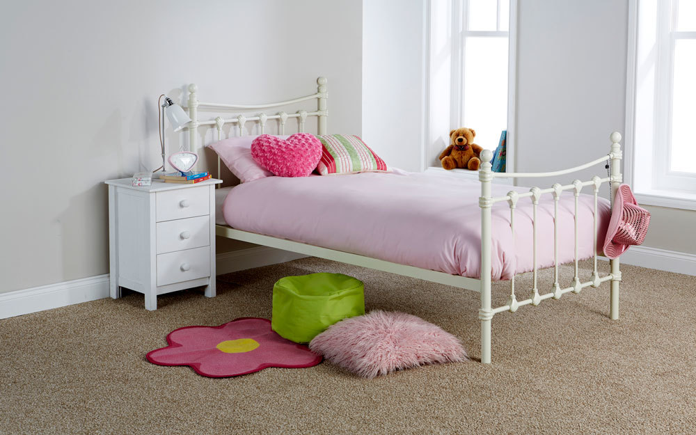 GFW Santa Fe Ivory Metal Bed Single No Trundle Bed