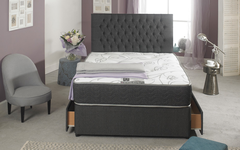 La Romantica Jasmine Ortho Divan Chelsea Black Fabric, King Size, End with 2 Drawers