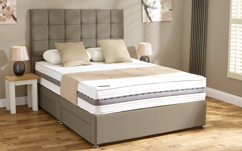 Linen ottoman shop for cheap beds and save online for Cheap king size divan beds with storage
