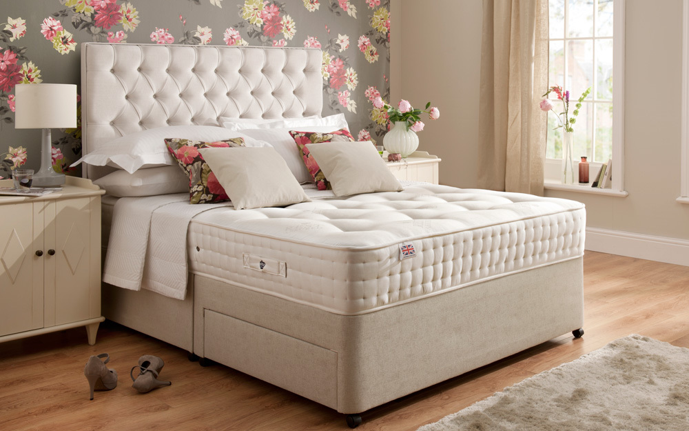 Rest Assured Boxgrove 1400 Pocket Natural Divan Bed, Superking, 4 Drawers, Tan, Complementing Napoli Headboard
