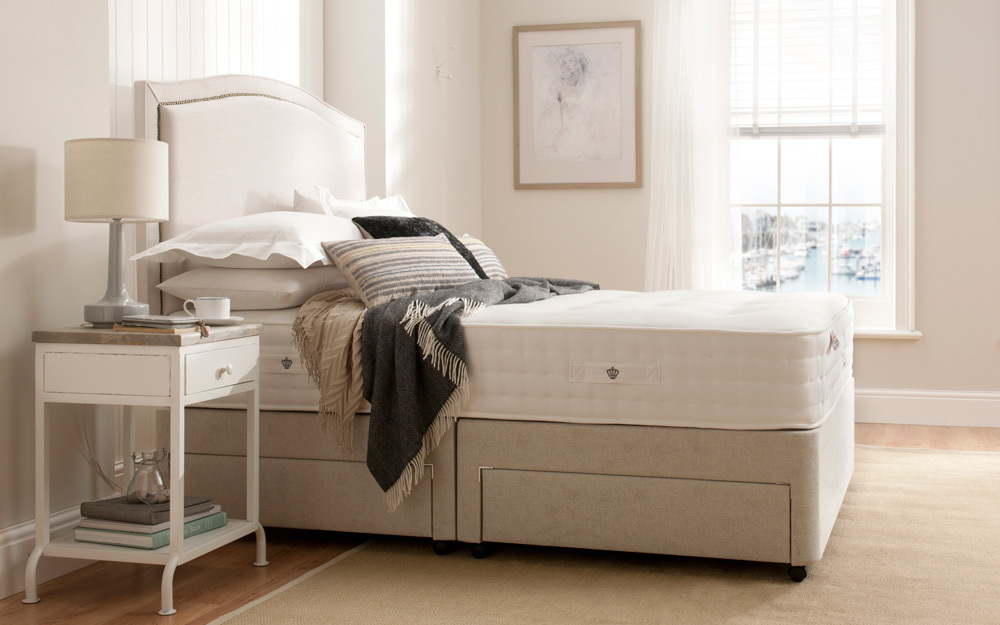 Rest Assured Northington 2000 Pocket Natural Divan Bed, Double, 4 Drawers Continental, Tan, Complementing Napoli Headboard