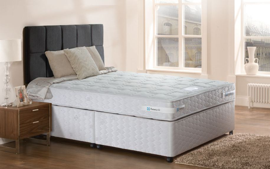 Sealy derwent firm contract divan bed double sprung base for Double divan bed with firm mattress