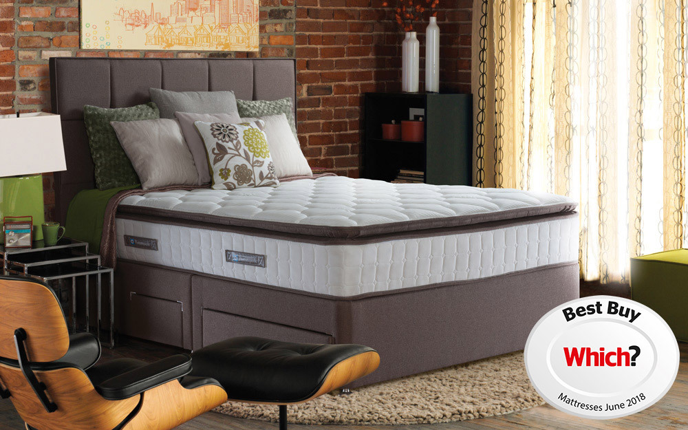 Sealy Nostromo Posturepedic Pocket 1400 Latex Divan, Double, 4 Drawers, No Headboard Required, Caramel