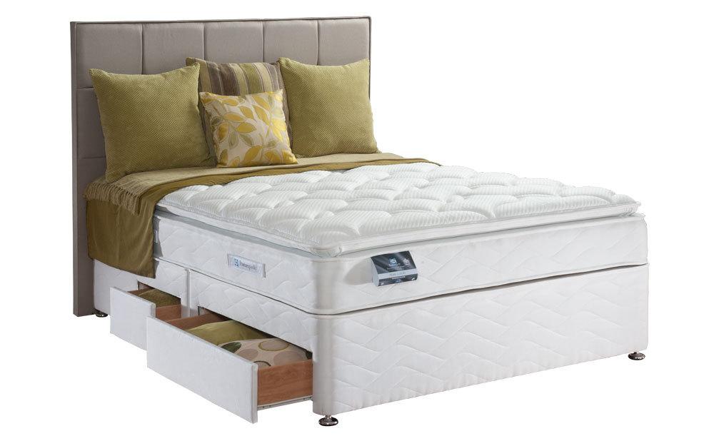 Sealy Posturepedic Pearl Luxury Divan, Double, 4 Drawers, Bonham Headboard Caramel