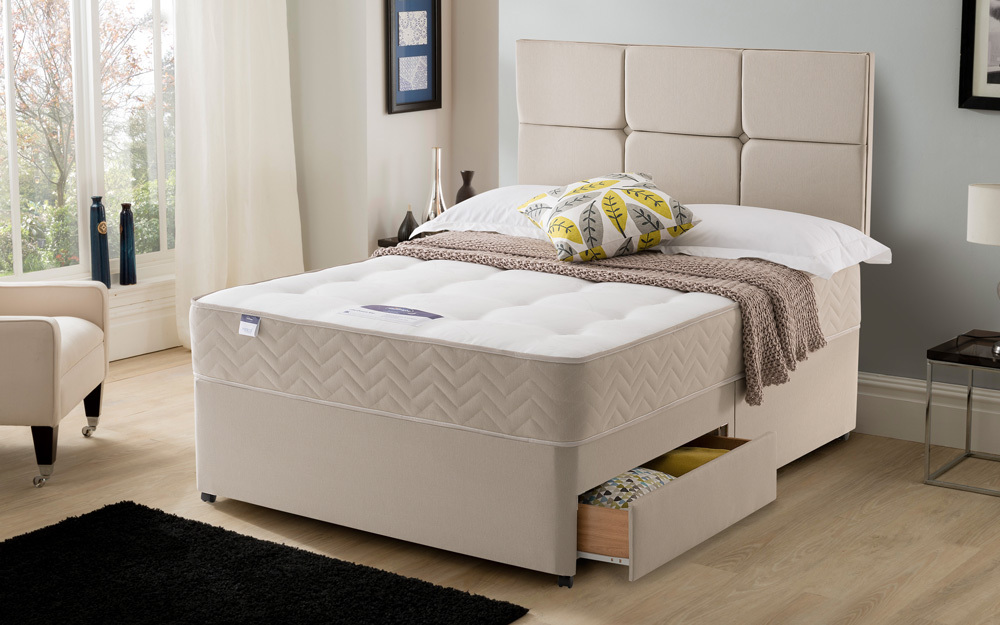 Silentnight amsterdam miracoil ortho divan king size for King divan with storage