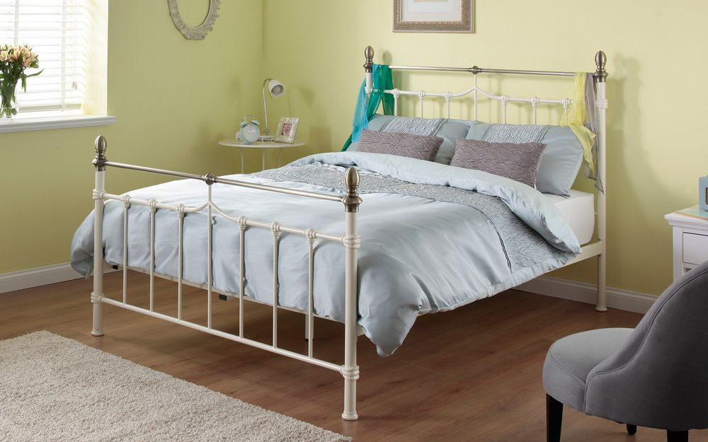 Silentnight Sydney Metal Cream Bed Frame King Size