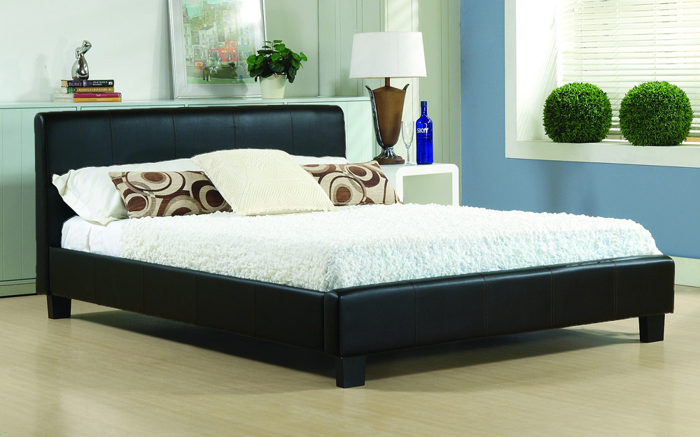 Time Living Hamburg Faux Leather Bed Frame Small Double Faux Leather  Black