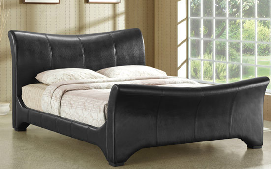 Time Living Wave Faux Leather Bed King Size Faux Leather  Black