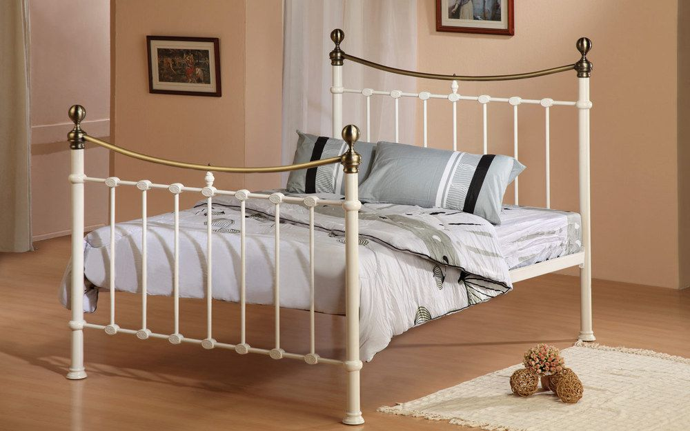 Time Living Elizabeth Metal Bed Frame, King Size, Ivory