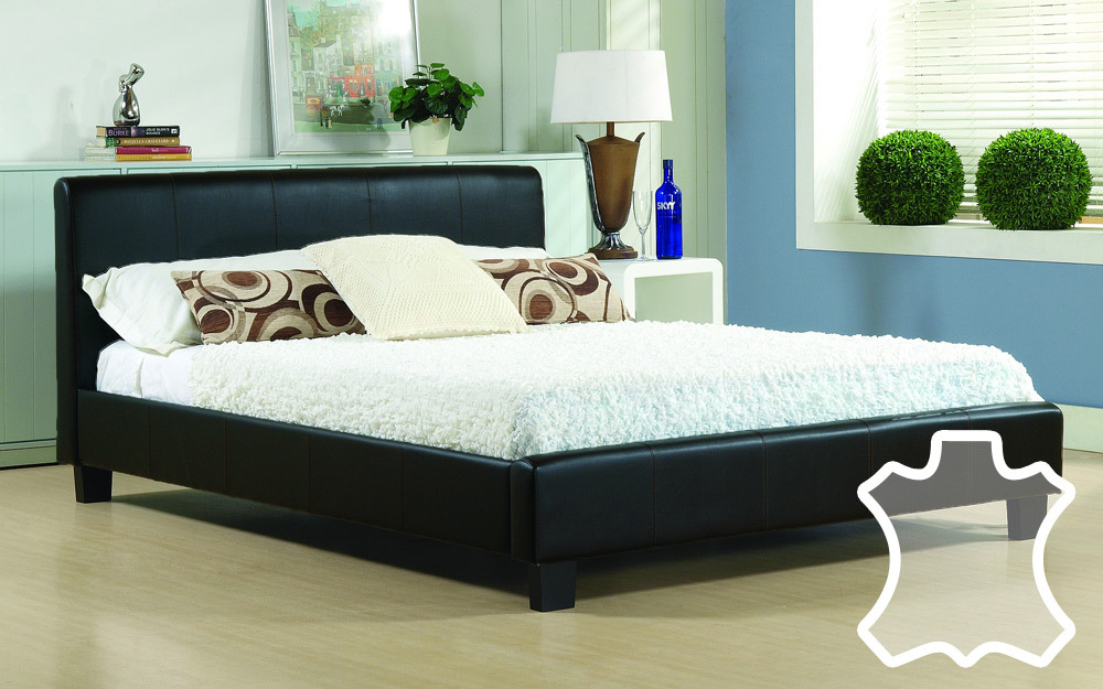 Time Living Hamburg Real Leather Bed King Size Real Leather  Brown