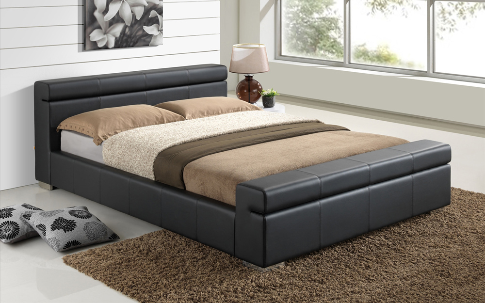 Time Living Durham Faux Leather Bed Frame King Size Faux Leather  Black