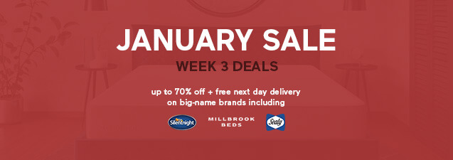 January Sale Week 3 Deals - up to 70% off plus free next day delivery on Silentnight, Simba, Sealy and more - Shop Now