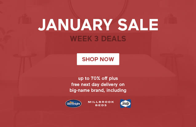 January Mattress Sale Week 3 Deals- up to 70% off plus free next day delivery on Silentnight, Millbrook, Sealy and more - Shop Now