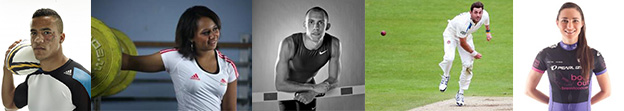Collage of athletes, left to right: Anthony Watson, Zoe Smith, Dai Green, Liam Plunket and Dame Sarah Storey