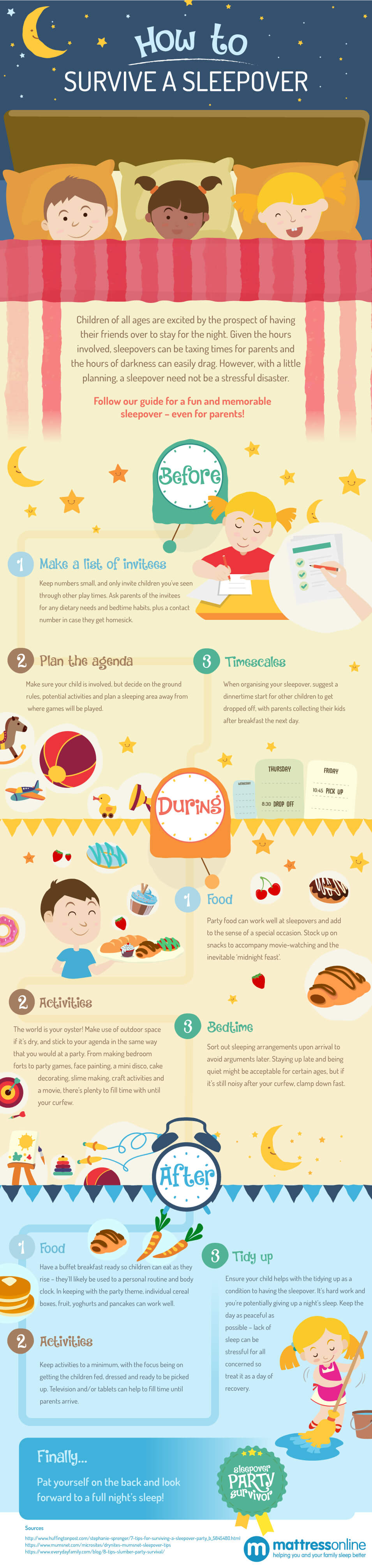 How to Survive a Sleepover Infographic