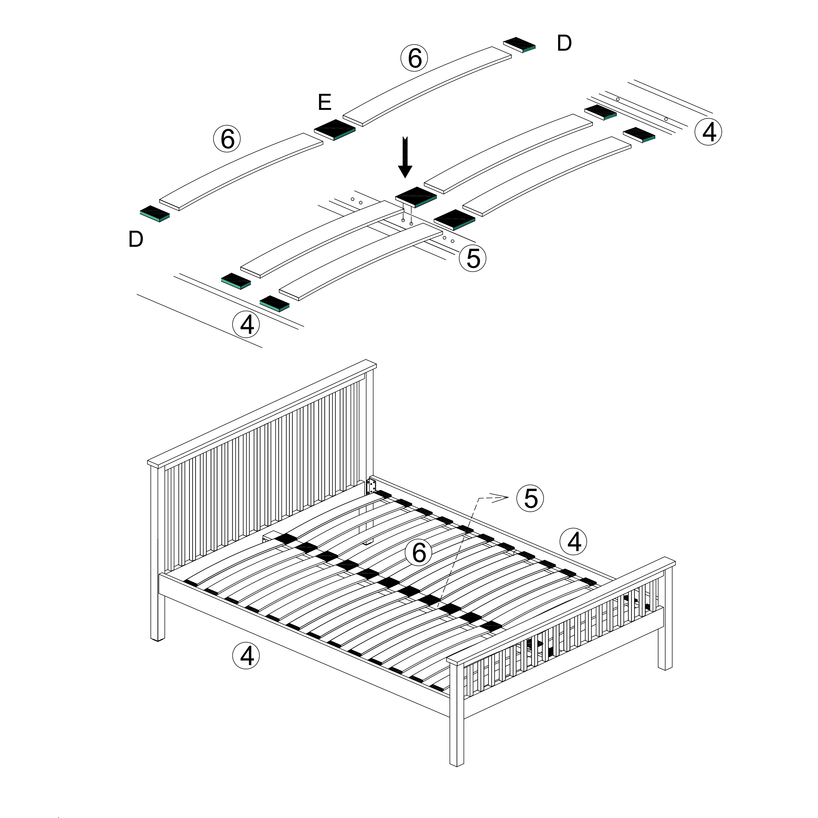 Assembly instructions for a sprung slatted bed frame