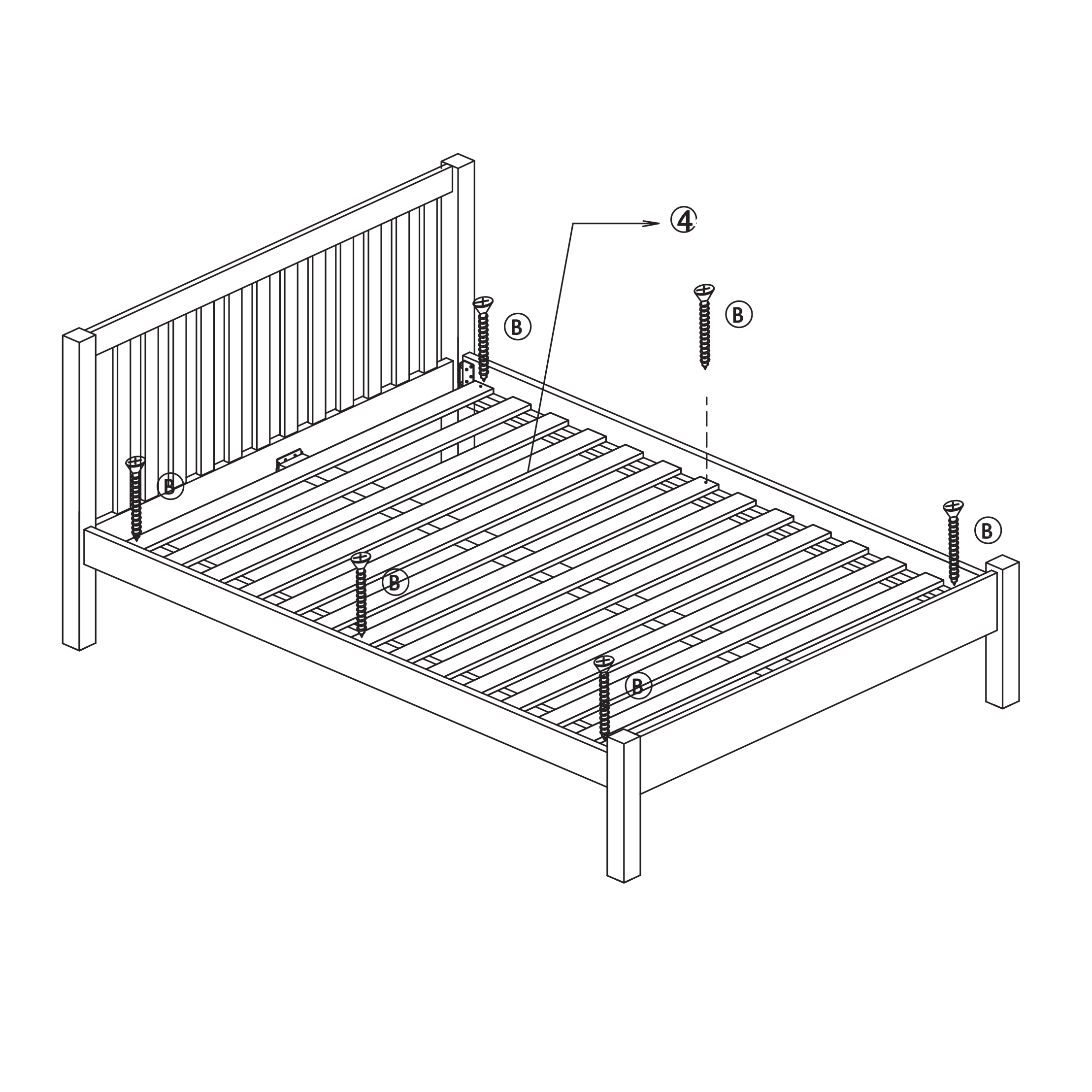 Instructions for assembling a solid slatted bed frame