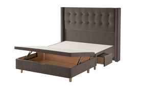 Bloomsbury Bed Frame Charcoal Cut Out Half Ottoman