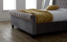 Limelight Orbit Silver Crushed Velvet Bed Frame Footend
