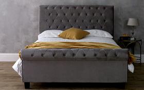 Limelight Orbit Silver Crushed Velvet Bed Frame Front