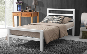 Time Living City Block White Metal Bed Single Updated