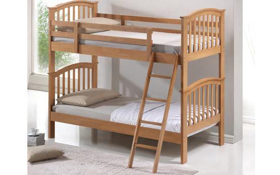 Wooden Bunk Bed, Single, Oak Finish