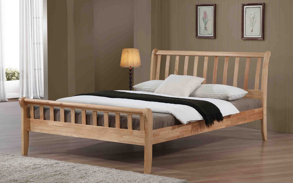 Flintshire Padeswood Hardwood Oak Finish Bed Frame, Single £269.95