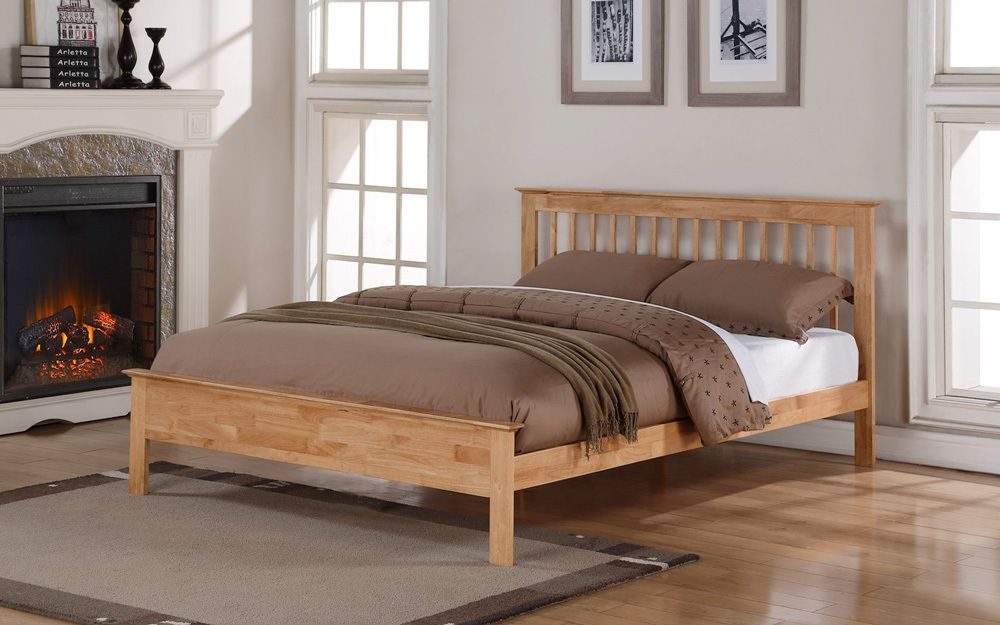 Flintshire Pentre Hardwood Oak Finish Bed Frame, Double £314.95