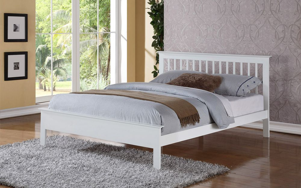 Flintshire Pentre Hardwood White Finish Bed Frame, Double £329.95