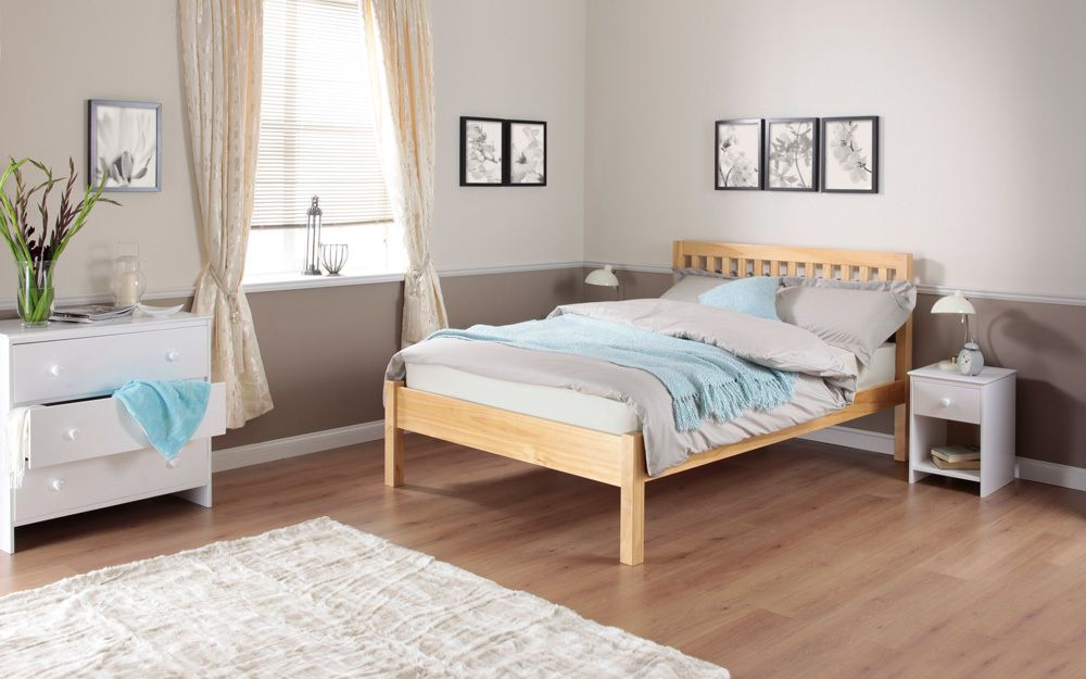The Silentnight Hayes Pine Wooden Bed Frame features a low footend and slatted shaker headboard in a modern bedroom
