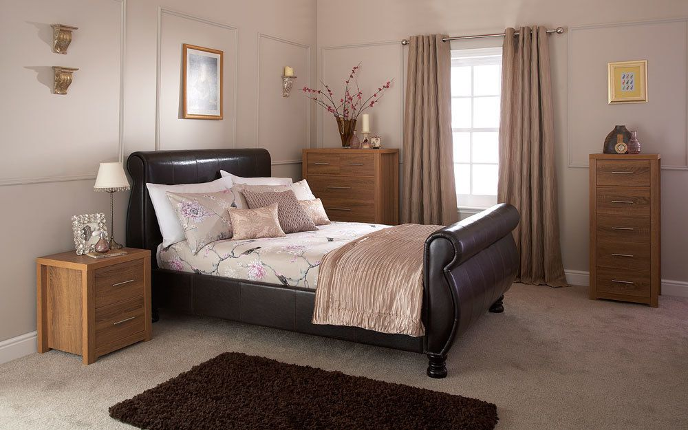 GFW Chicago Brown Faux Leather Sleigh Bed, Double £359.95
