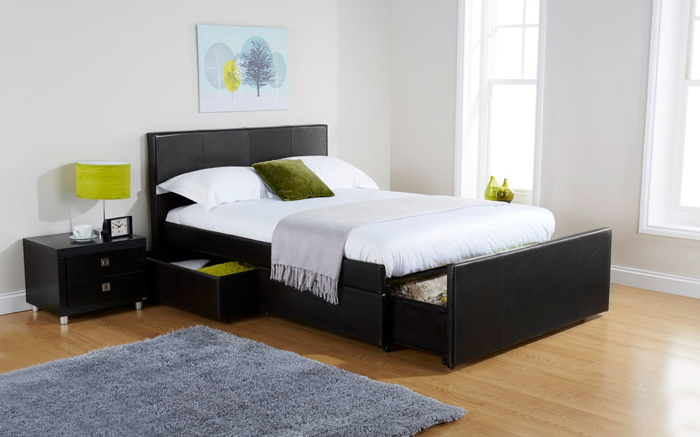 The GFW Colorado Faux Leather Storage Bed with an end drawer and half side drawer