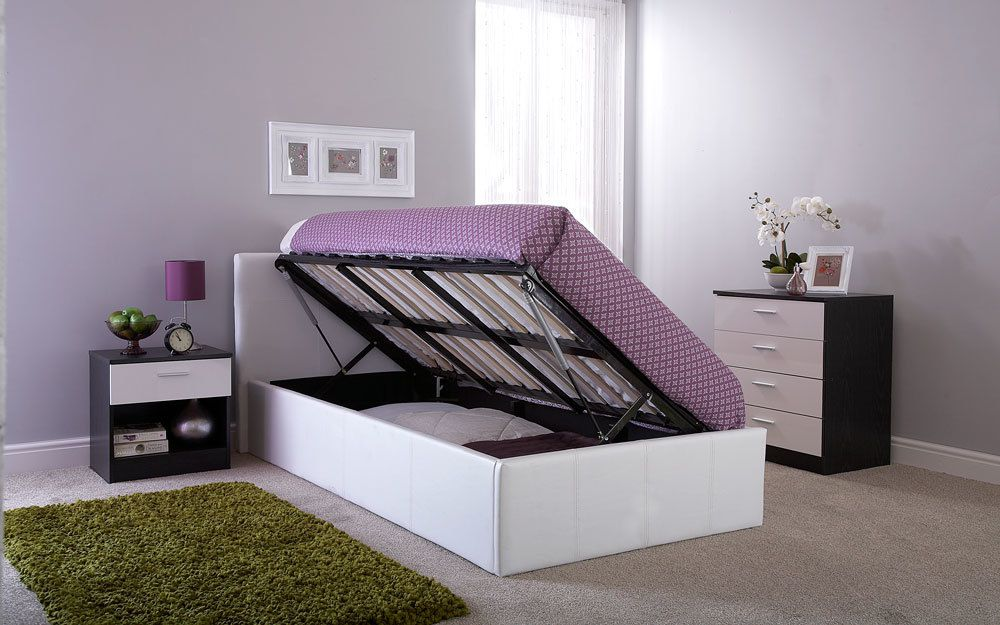 The GFW Side Lift Ottoman Bed in a bedroom, demonstrating that this type of ottoman bed frame can be opened from the side