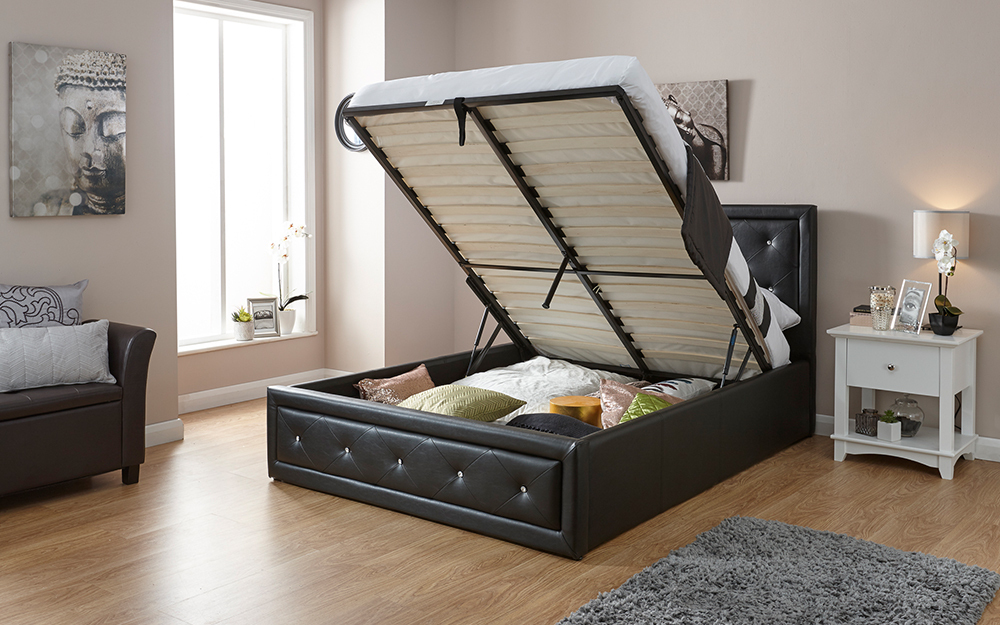 The GFW Hollywood Faux Leather Ottoman Bed