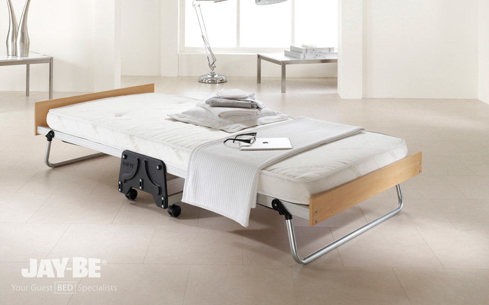 The Jay-Be J-Bed Performance Folding Guest Bed in single, complete with mattress