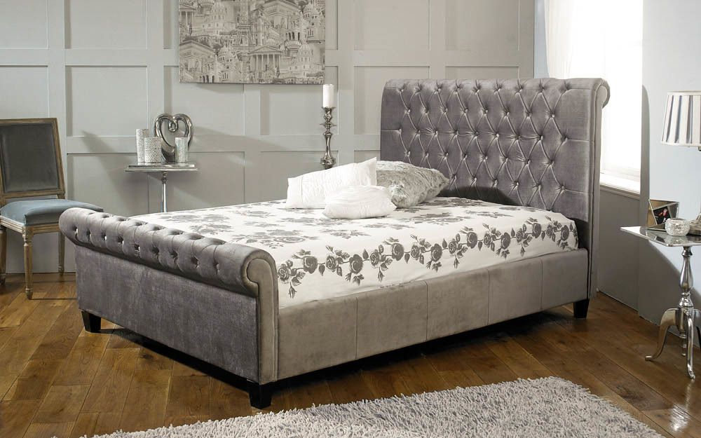Limelight Orbit Fabric Bed Frame, Double, Velvet Black £409.95