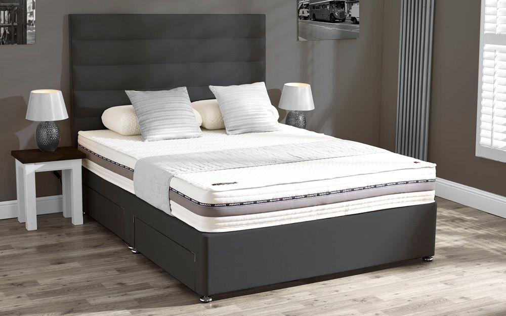 Mammoth performance 220 divan mattress online for Grey king size divan