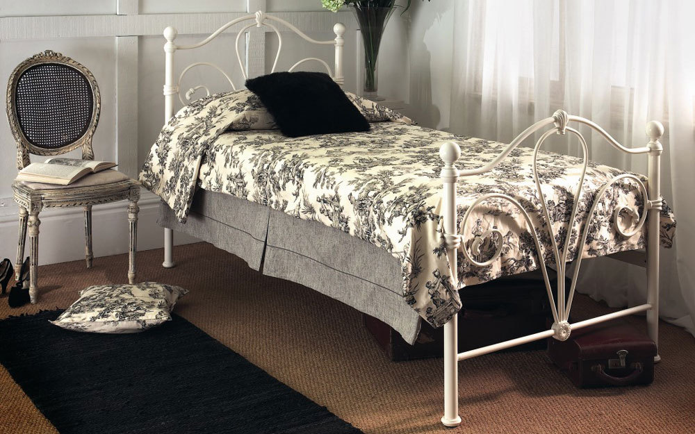 Limelight Nimbus Ivory Metal Bed Frame, Single
