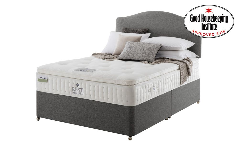 Rest Assured Knowlton 2000 Pocket Latex Pillow Top Divan, Single, No Headboard Required, No Storage, Sandstone for £509.95