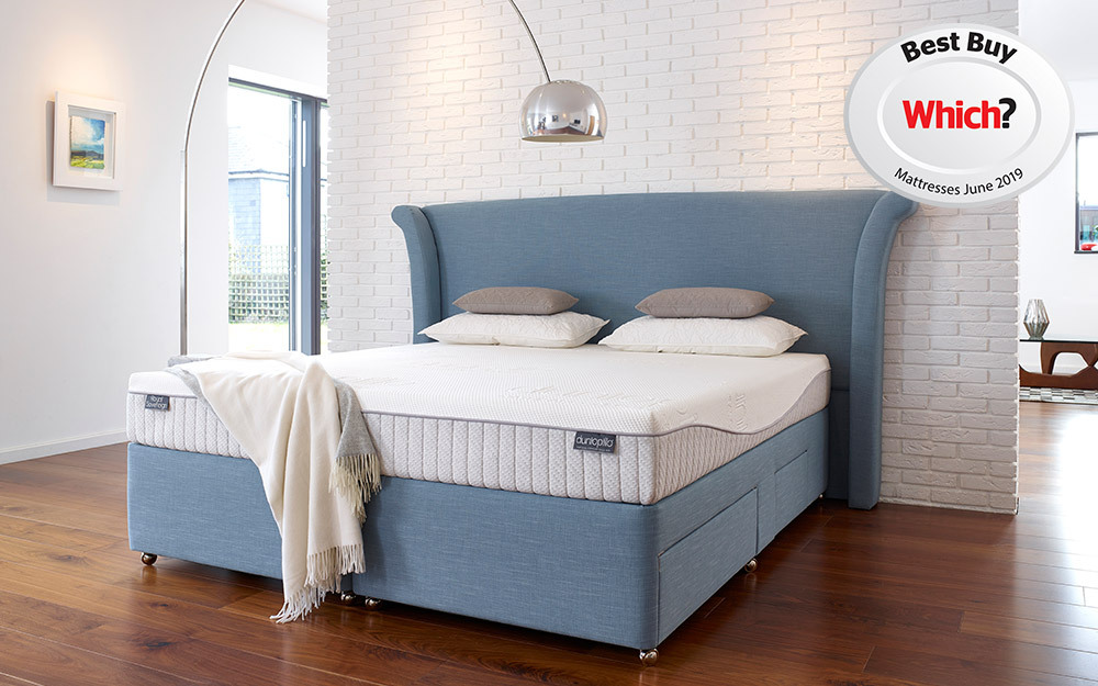 The Dunlopillo Royal Sovereign Divan in blue with two full and two half drawers