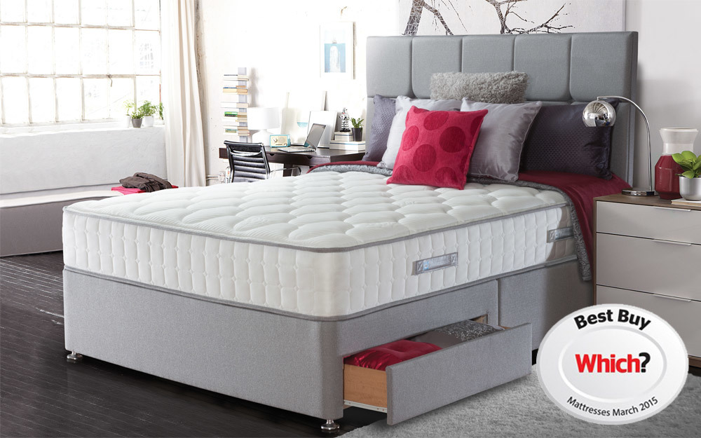 The Sealy Casoli Posturepedic Pocket 1200 Latex Mattress on a divan base with drawers