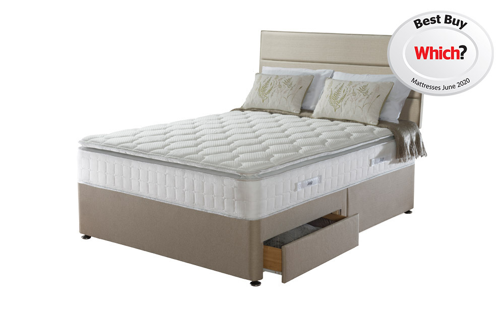 The Sealy Posturepedic Nostromo Latex 1400 Pocket Pillow Top Divan in a bedroom