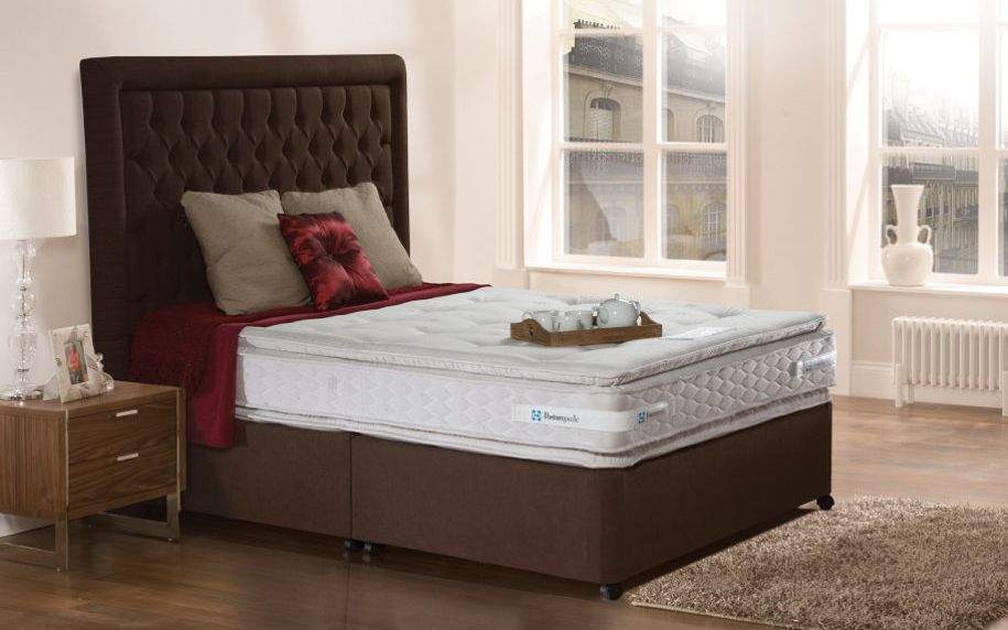 The Sealy Pillow Coniston Contract Divan Bed includes a sumptuously comfortable pillow topped mattress