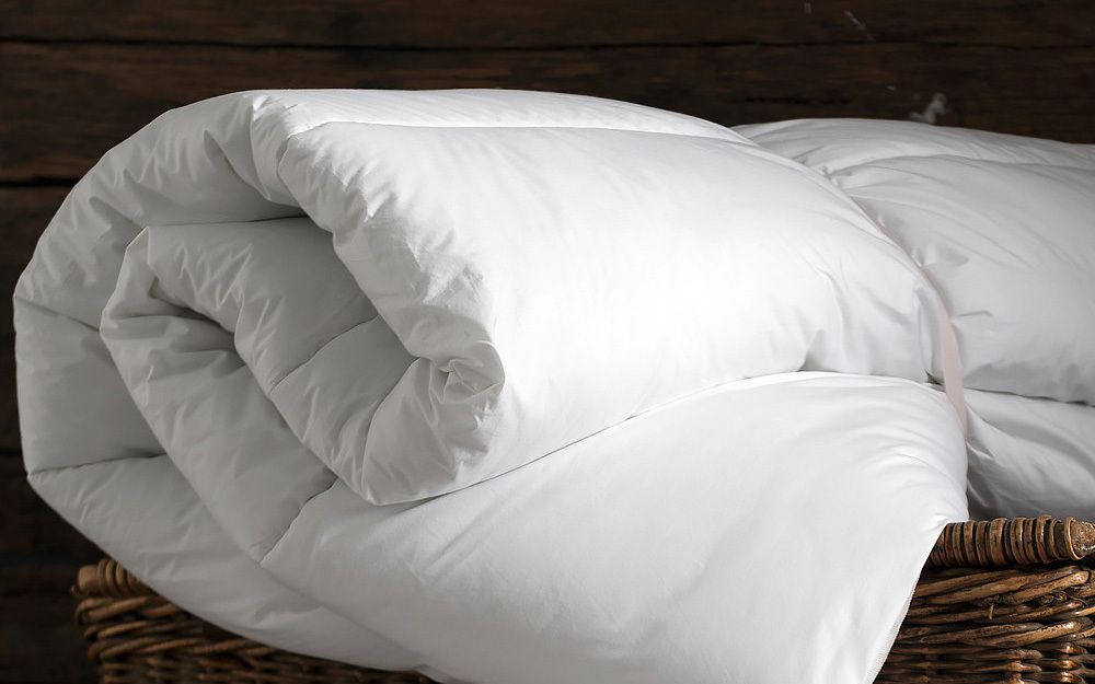 A white duvet in a bundle