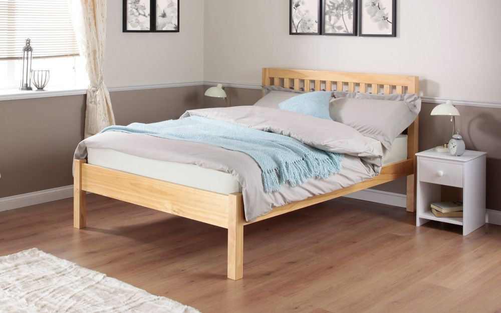 The Silentnight Hayes Pine Wooden Bed Frame features solid slats