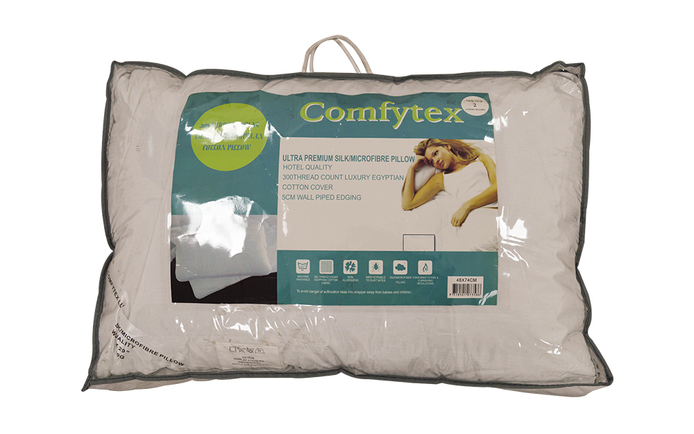 Comfytex Ultra Premium Silk Microfibre Pillow Pair