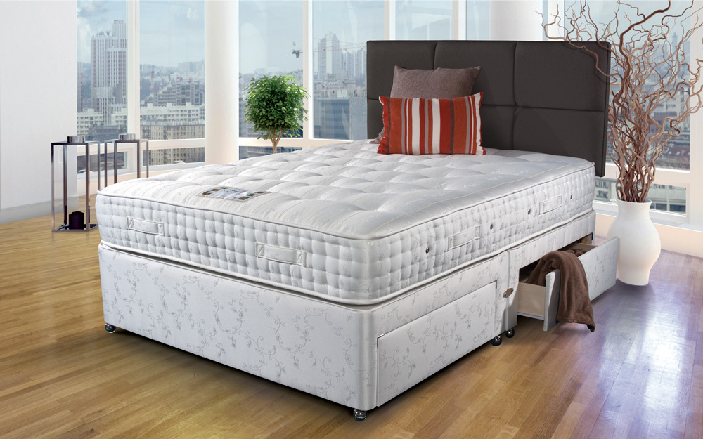 Image to show the Sleepeezee Westminster 3000 Pocket Mattress on a divan bed
